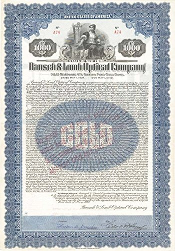 Carl Lomb - Bausch and Lomb Optical Co $1,000 Uncanceled Gold Bond signed by Carl ()