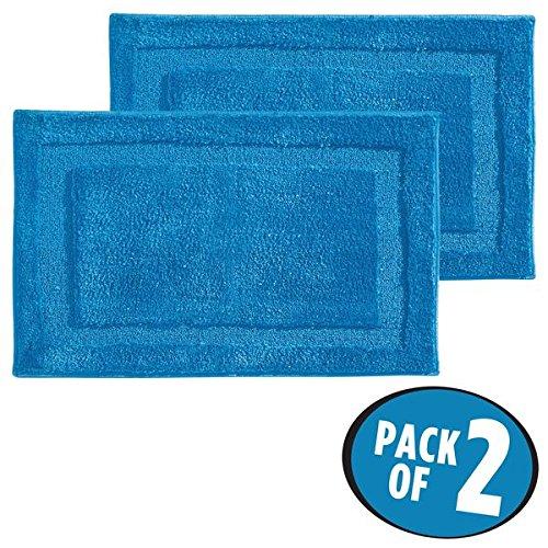 mDesign Soft Microfiber Polyester Non-Slip Rectangular Spa Mat, Plush Water Absorbent Accent Rug for Bathroom Vanity, Bathtub/Shower, Machine Washable - 34