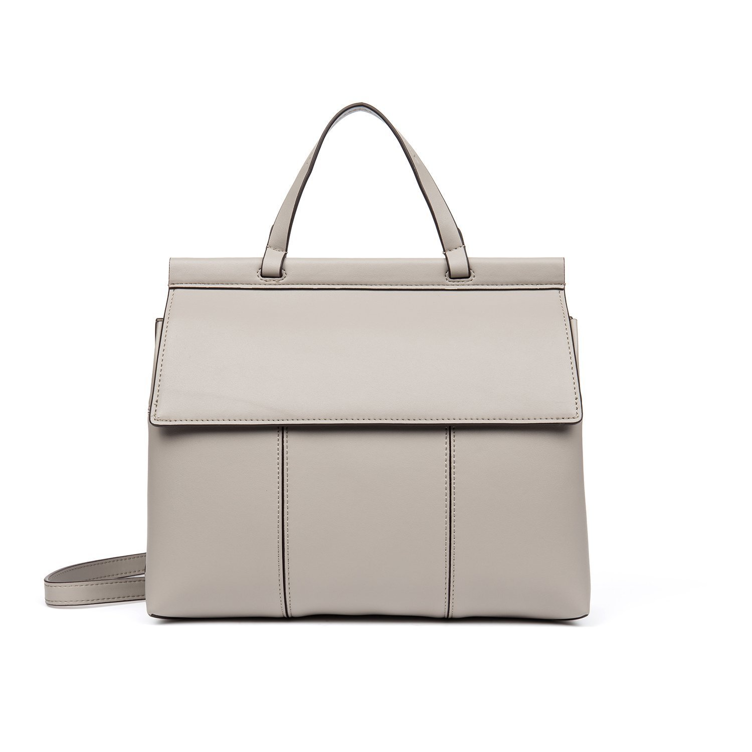DANJUE Elegant Genuine Leather women's handbags with Multiple Compartments Top-handle Shoulder Briefcase Carry Bag H7008 (White)
