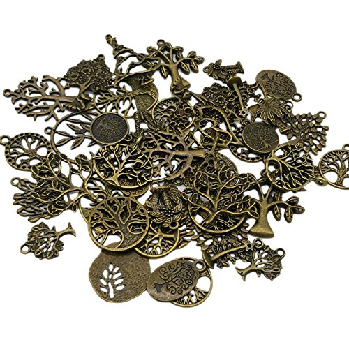 100 Gram (Approx 45pcs) Vintage Antique Tree Charm Pendant beaded Jewelry Findings for Bracelet Necklace Pendant Retro Accessoires, DIY Crafts, Jewelry Making