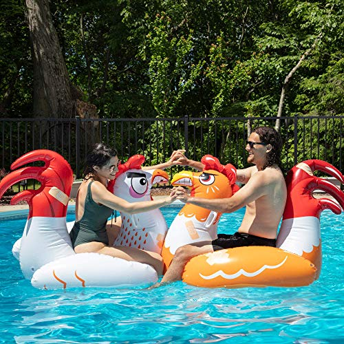 SCS Direct Inflatable Chicken Fight Twin Float Pool Game Set - Includes Two Giant Battle Ride-Ons - Flip Your Friends to Win! - for Kids and Adults