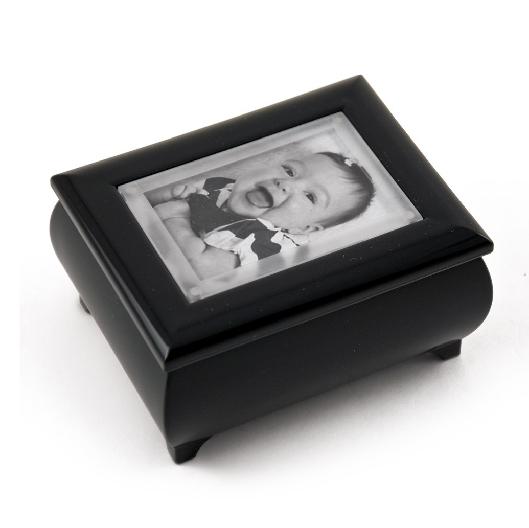 3'' X 2'' Wallet Size Matte Black Photo Frame Music Box With New Pop - Over 400 Song Choices - Out Lens System Rock of Ages Christian Version