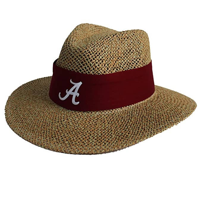 877042be6a6 Amazon.com   Alabama Crimson Tide Nick Saban Straw Hat With Crimson Band  With A Script   Sports   Outdoors