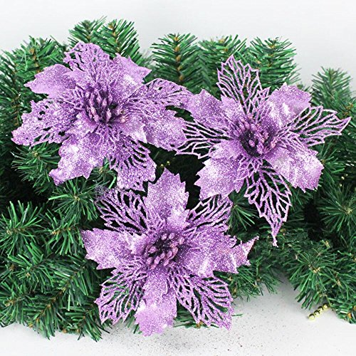 Crazy Night Glitter Poinsettia Christmas Tree Ornaments Pack Of 10 (Purple) (Ornaments Purple With Christmas Tree)