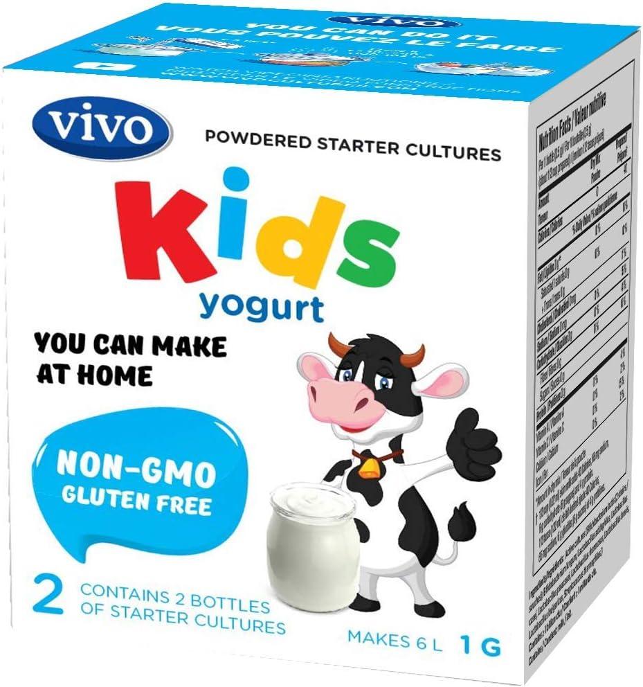 VIVO KIDS Yogurt Starter Cultures/Natural (5 cajas) hace hasta 30 cuartos de yogur