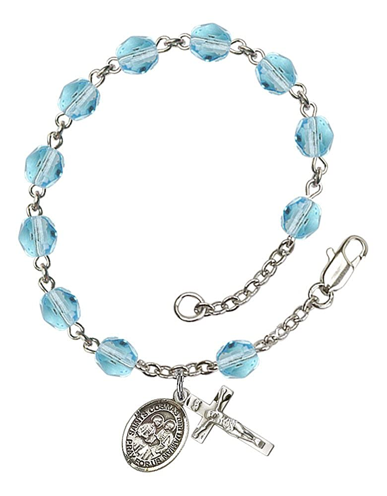Cosmas /& Damian medal Patron Saint Surgeons//Barbers Silver Plate Rosary Bracelet features 6mm Aqua Fire Polished beads The charm features a Sts The Crucifix measures 5//8 x 1//4