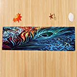 WSHINE 15.7''47.2'' Floor Runner Rug Kitchen Mats Indoor Outdoor Doormat Window Room Mat, Peacock Feathers