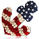 Custom & Unique (19.5'' x 24.5'' Inches) 1 Single Large Size Decorative Holiday Wreath for Door, Made of Poplar w/ Patriotic Anchor Stars Stripes National Banner Standard Ol' Glory (Blue, Red & White)