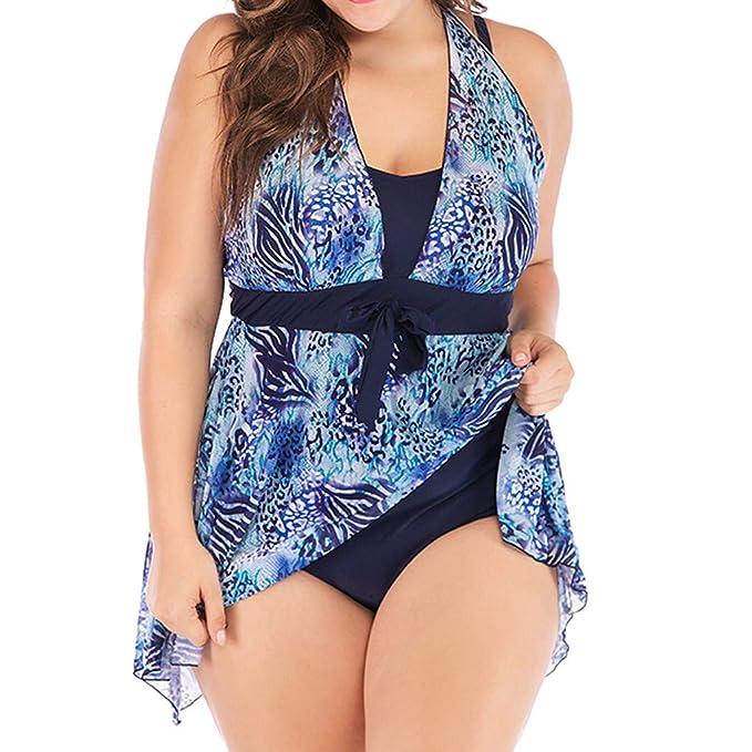 bb13dbcc3eb Amazon.com   Women Bikini Plus Size Beachwear Set Print Tankini  Swimjupmsuit Swimsuit Beachwear Padded Swimwear Memela   Sports   Outdoors