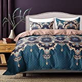 What Is a European King Size Bed Bohemian Bedding Luxury Boho Duvet Cover Set Gold/Brown Baroque Reversible Design Gold Floral Printed Bedding Queen (90
