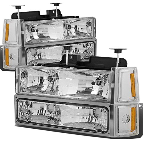 Gmc Yukon Headlamp Assembly (DNA Motoring HL-OH-8P-C10-3G-CH-AM Headlight Assembly, Driver and Passenger Side)