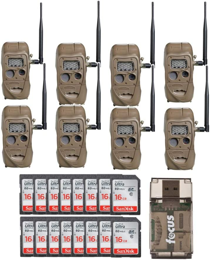 Cuddeback CuddeLink J Series Long Range IR Trail Camera 8-Pack , 20 Megapixels with 16 SD Cards