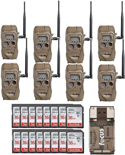 Cuddeback CuddeLink J Series Long Range IR Trail Camera 8-Pack , 20 Megapixels with 16 SD Cards