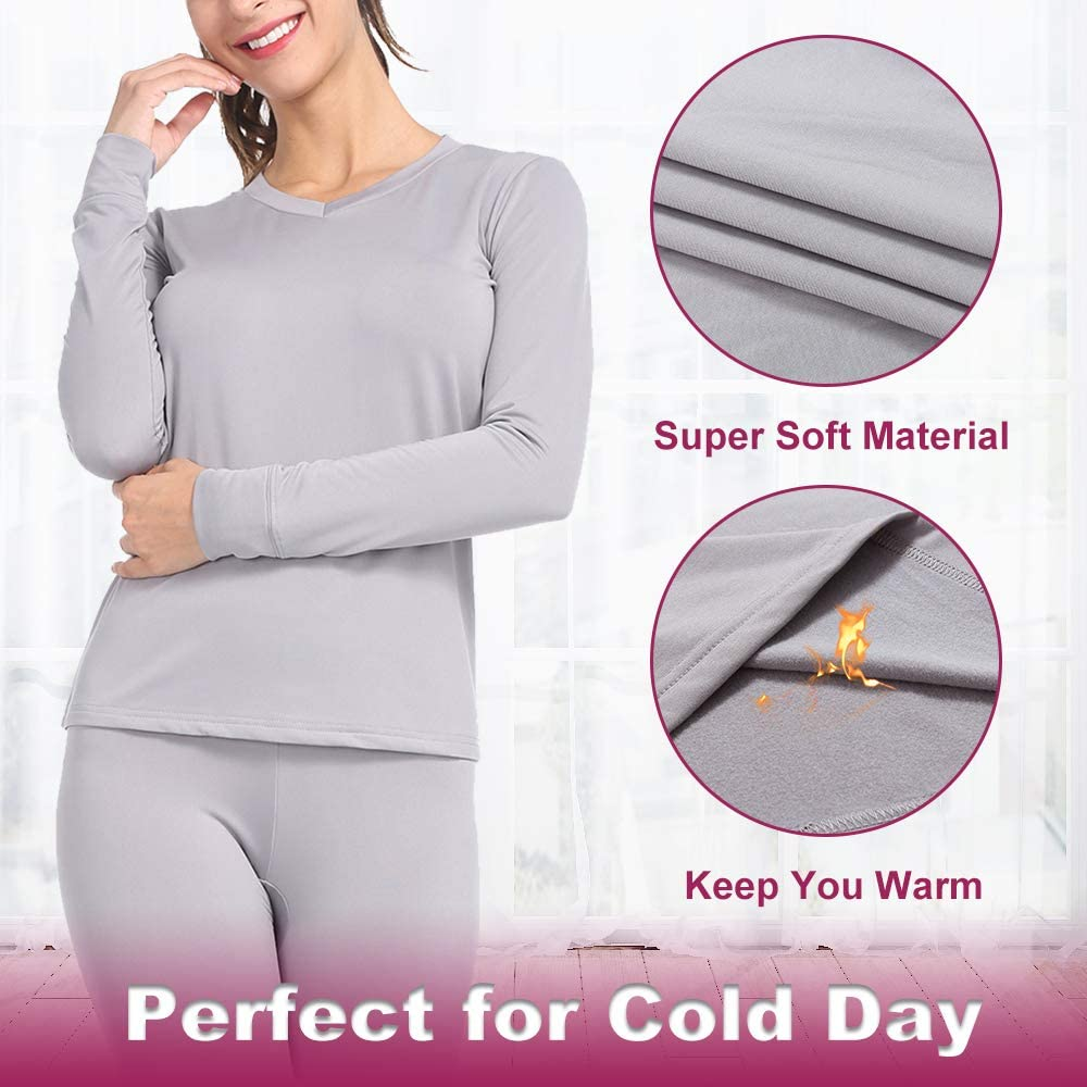 Subuteay Thermal Underwear for Women Long Johns Set with Fleece Lined Ultra Soft V Neck