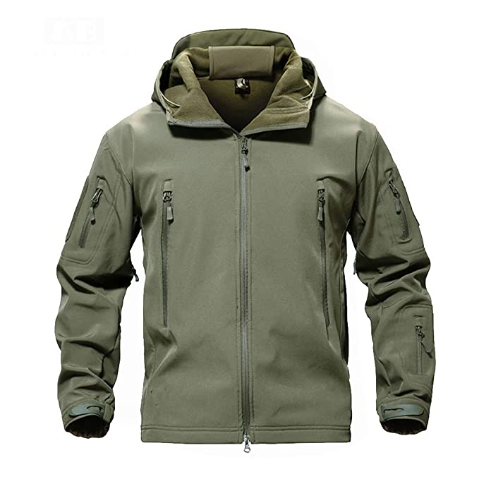 MAZF Giacca da Caccia Outdoor Softshell Impermeabile Giacca da Pesca  Antivento Cappotto da Sci Escursionismo Campeggio 477830502f99