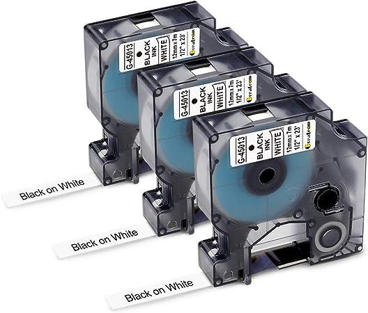 3 Kompatibel für Dymo Schriftband 12 mm D1 45013 Schwarz weiß LM450D LP100 LP250