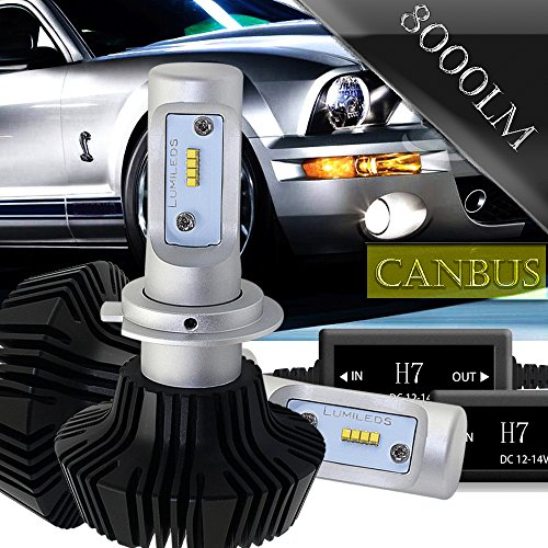 H7 LED Headlight Bulb All-in-One Conversion Kit Anti Flicker Canbus Decoder 8000LM 6500K Led Fog Lights For VW MK6 Jetta SE GLI CC GLOF PASSAT GTI Subaru Legacy Hyundai Santa Fe Sonata GLS Veloster
