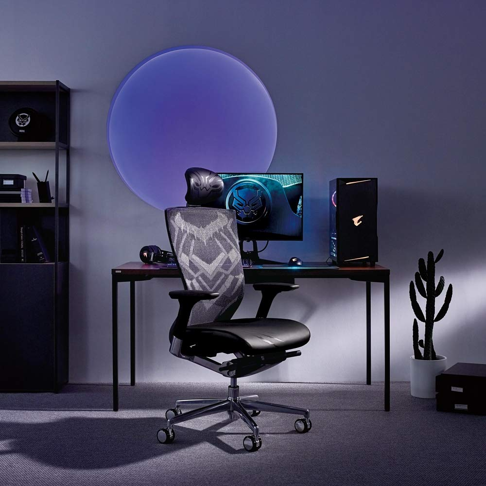 SIDIZ T50 Marvel Black Panther Edition T500HLDASCC1 Home Desk Gaming Chair Mesh Back, Lumbar Support, Leather Seat, 3-Way Adjustable Arms Seat Slide Slope, Aluminum Armframe Base, Chrome Caste