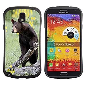 Fuerte Suave TPU GEL Caso Carcasa de Protección Funda para Samsung Note 3 N9000 N9002 N9005 / Business Style Funny Curious Bear In The Field