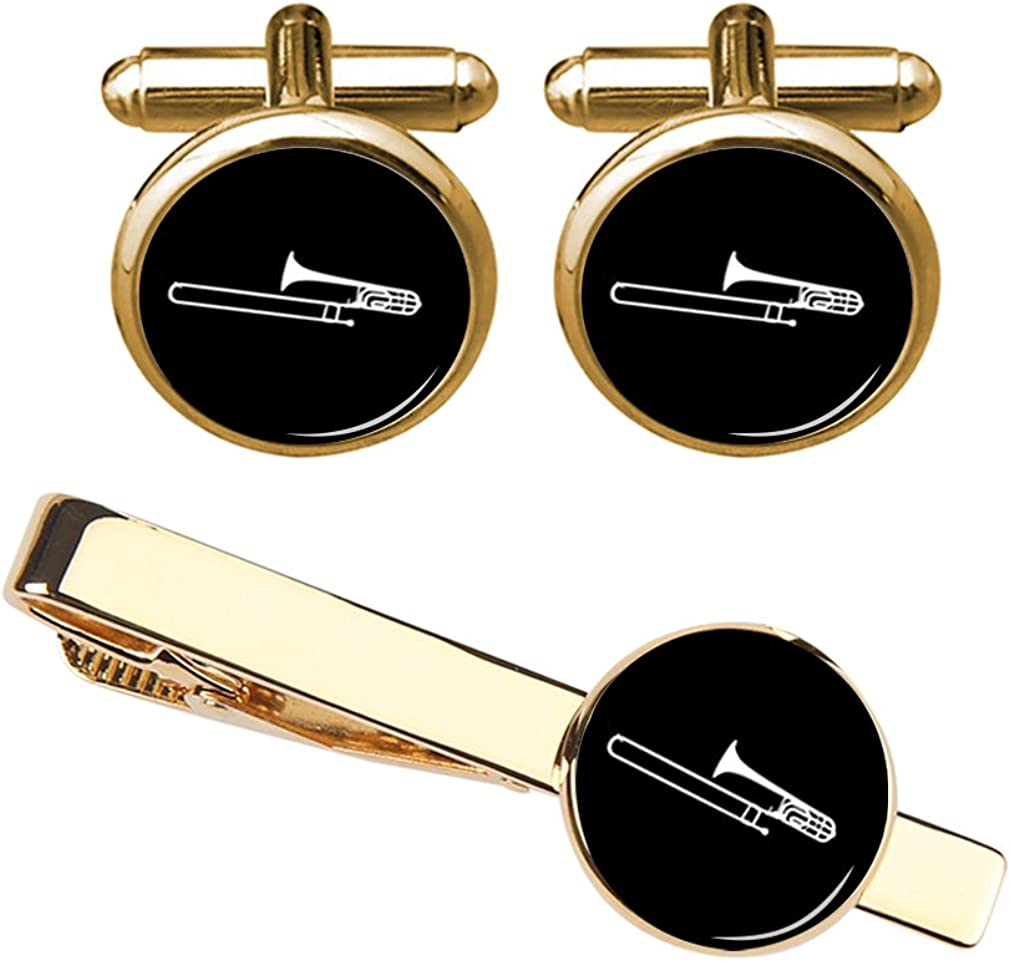 ZUNON Music Cufflinks Trombone Musical Instrument Cufflinks & Tie Clips Set Musician Artist Jewelry Wedding Gift
