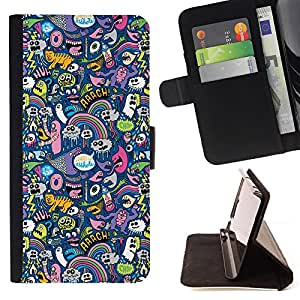 Jordan Colourful Shop - cats ghost monster wallpaper colorful design For Samsung ALPHA G850 - < Leather Case Absorci????n cubierta de la caja de alto impacto > -