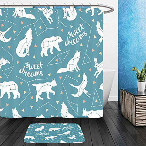 Vanfan Bathroom 2Suits 1 Shower Curtains & 1 Floor Mats seamless pattern with star animals vector hipster background with star sky fashion design for 405750625 From Bath room