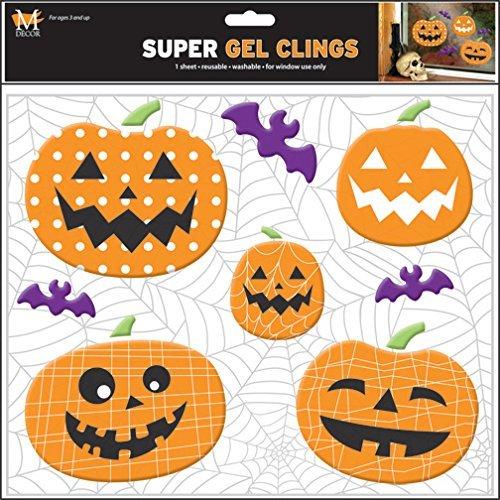 Mello Smello Halloween Set of 8 Pumpkin Decorations Gel Window Clings -