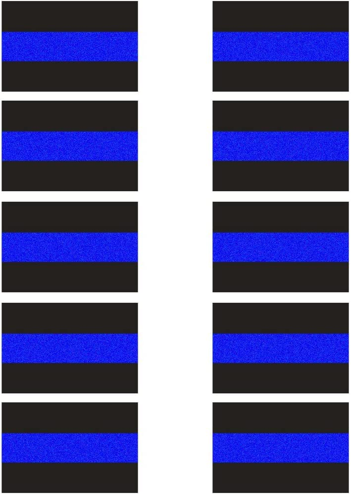 "10 Pack Reflective License Plate Stickers (1.5"" x 1"") Police Thin Blue Line Vinyl Decal Stickers Honoring Police Law Enforcement Vinyl Window Laptop Tape"