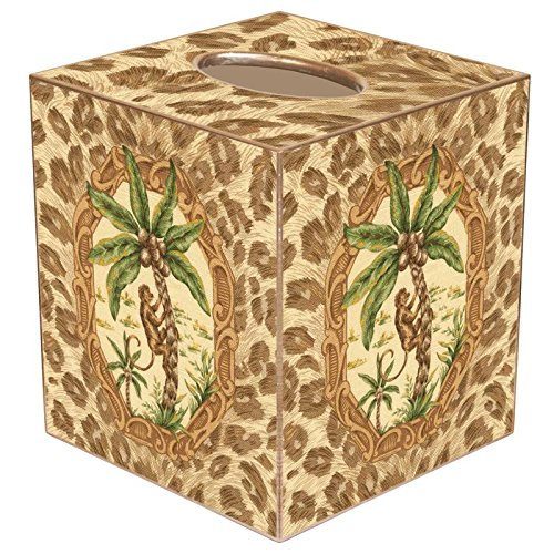 Monkey & Palm Tree with Leopard Paper Mache Tissue Box Cover (Palm Tissue Box Cover)