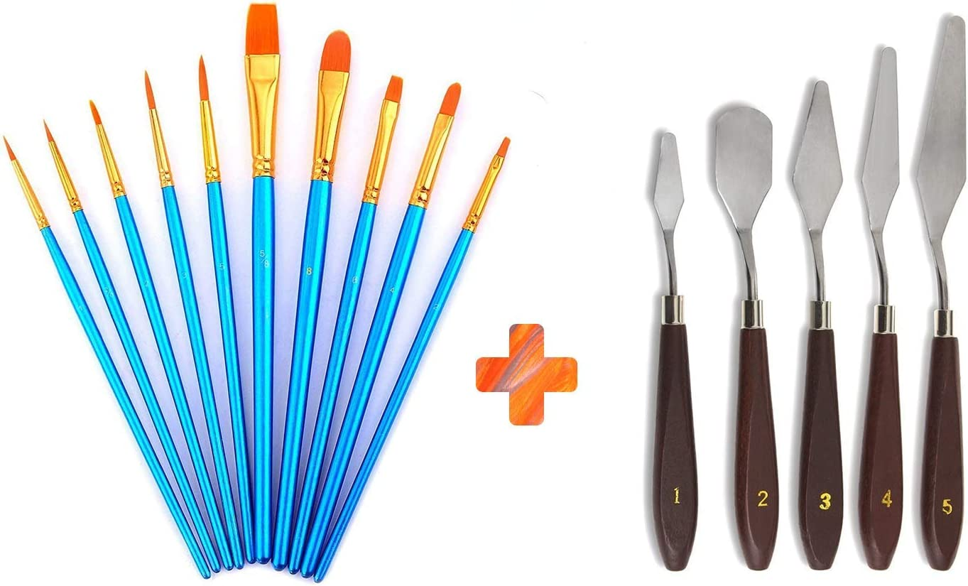 Paint Supplies 16PCS Paint Brush Set with Palette and Paint Knife-12 Paint Brushes+1 Palette+3 Paint Knifes,Artist Acrylic Brush kit for Watercolor Acrylic Oil Painting 15 x 1