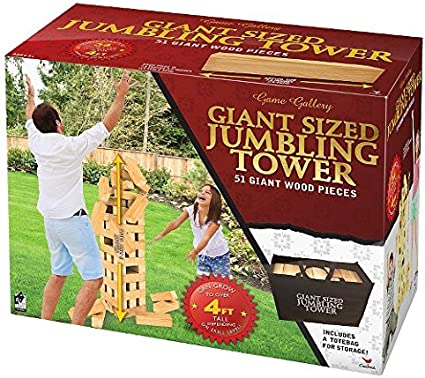 Cardinal Giant Jumbling Tower Party Game 51 Solid Wood Blocks outdoor Jenga yard