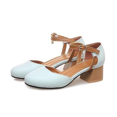 QINX Frauen Runder Blockabsatz Flachen Mund Schuhe
