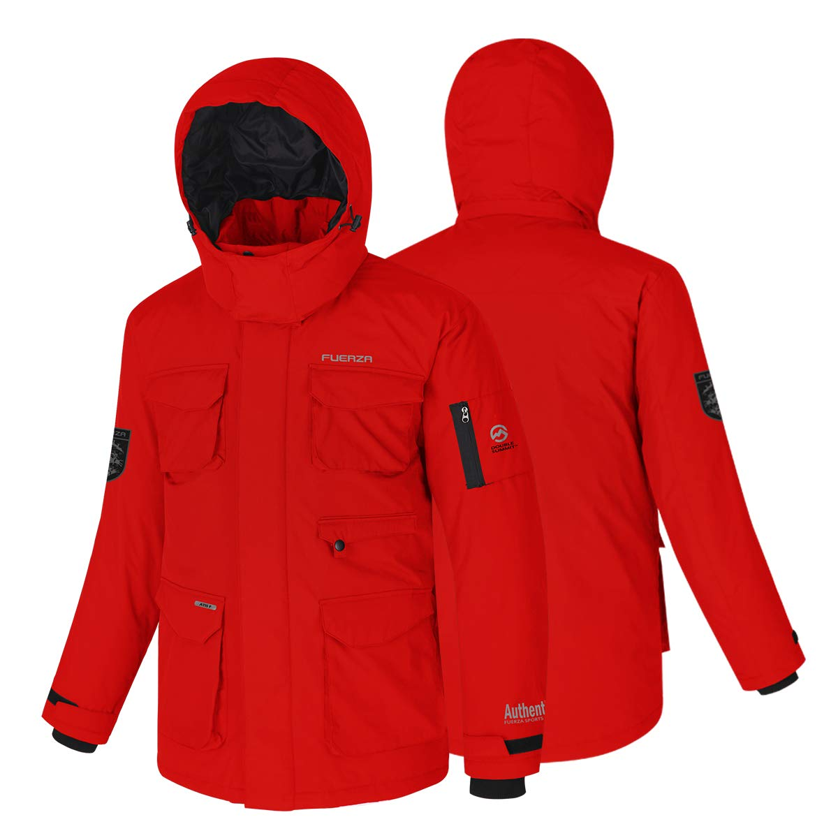 Fuerza Mens Down Wellon Special Collection Winter Parka Jacket Coat - Red