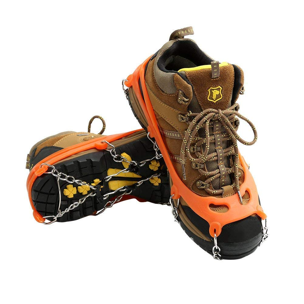 Cosyzone Micro Spikes Ice Snow Grips Traction Cleats Shoes Boots Crampons Grippers for Walking Mountaineering Hunting Hiking(L)