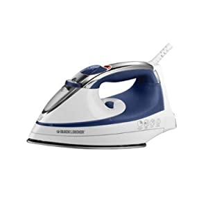Black & Decker IR1070S Steam Advantage Nonstick Stainless Steel Iron, White/Blue