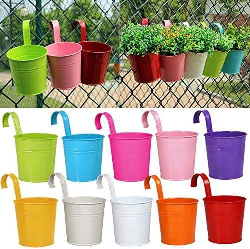 Popamazing - Juego de 10 macetas metálicas de diferentes colores para colgar en el balcón, jardín, plantas, decoración del hogar, 10 x 8 cm: Amazon.es: Jardín