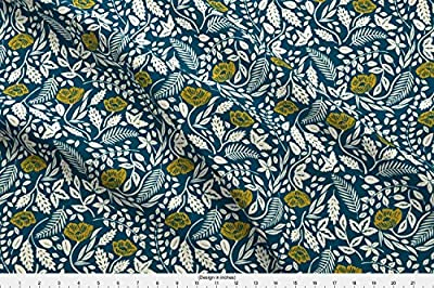 Spoonflower Floral Fabric - Floral Nature Woodcut Artist Vintage Navy - by Landpenguin Printed by The Yard