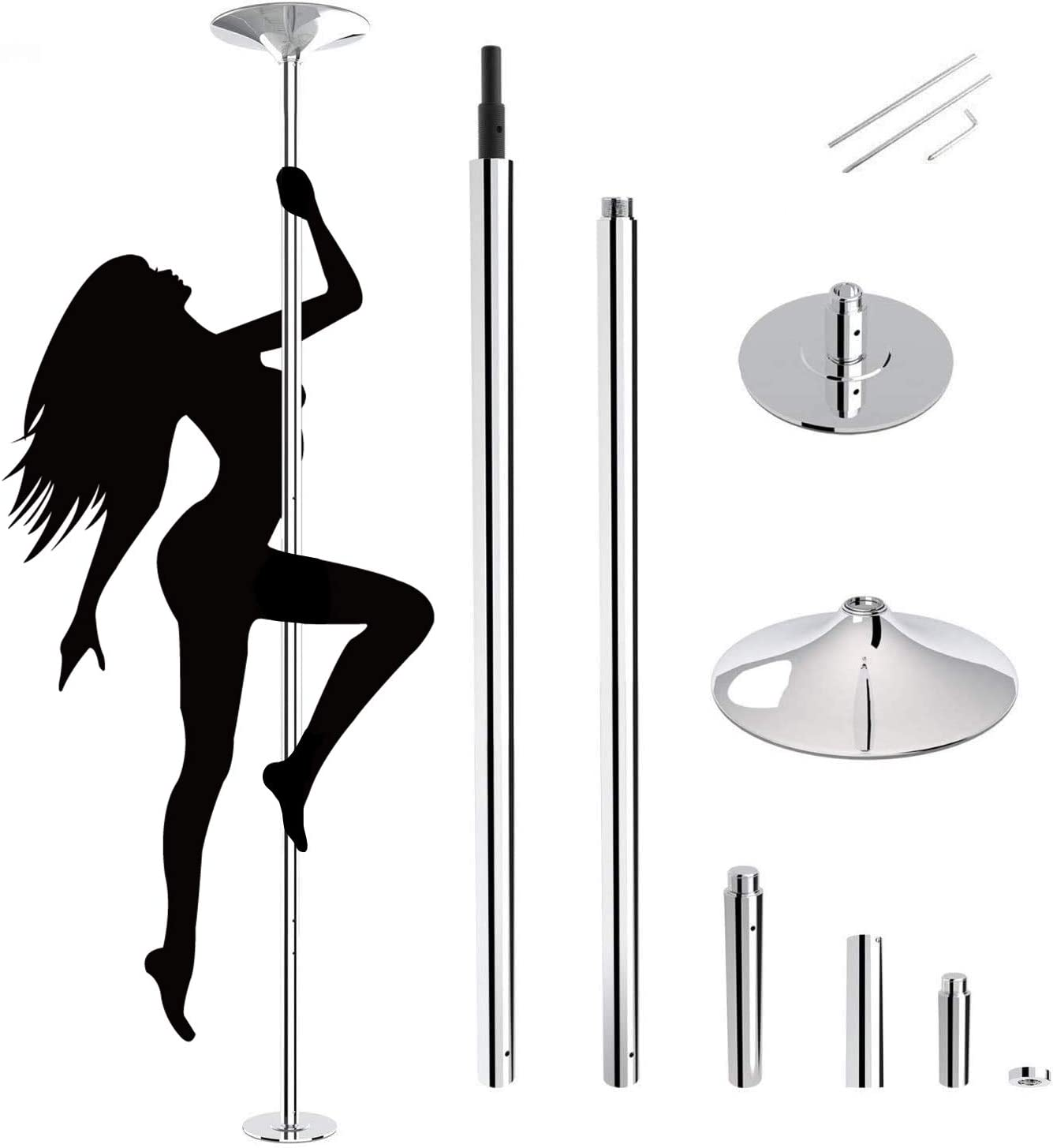 Oul Professional Stripper Pole Spinning Static Dancing Pole Portable Removable 45mm Dance Pole Kit for Exercise Club Party Pub Home Fitness (Silver)