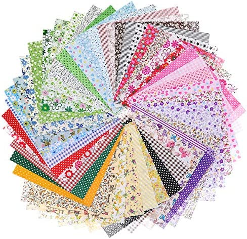 Jeteven 50pcs (20cm x 20cm) Cotton Fabric Sewing Fabric Craft Squares Quilting Floral DIY Sewing Precut Fabric Sheets Patchwork
