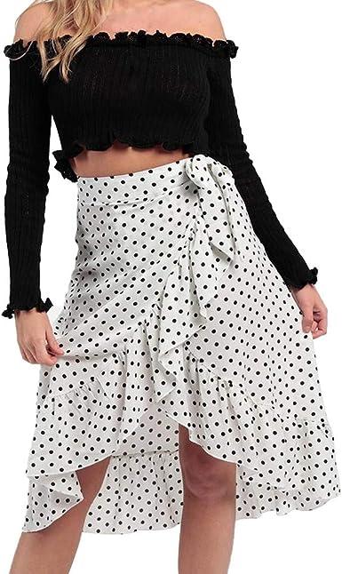 Qijinlook 💖Falda Estampada Lunares Mujer/Faldas largasFalda ...