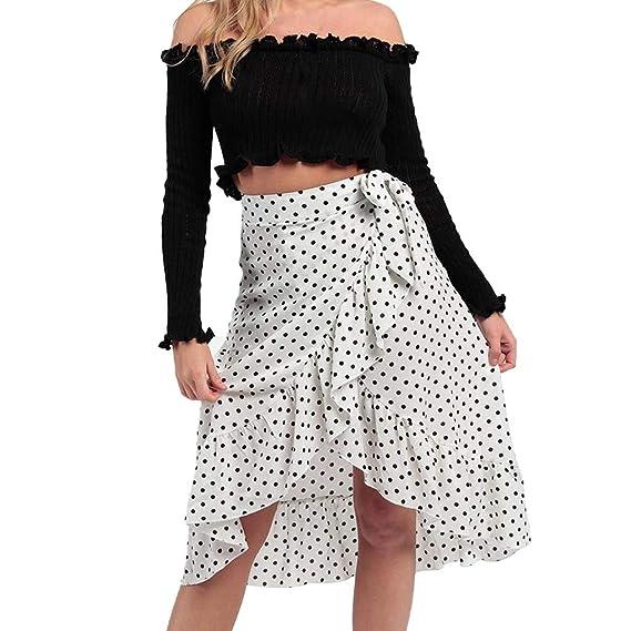 Qijinlook 💖Falda Estampada Lunares Mujer/Faldas largas💖Falda ...