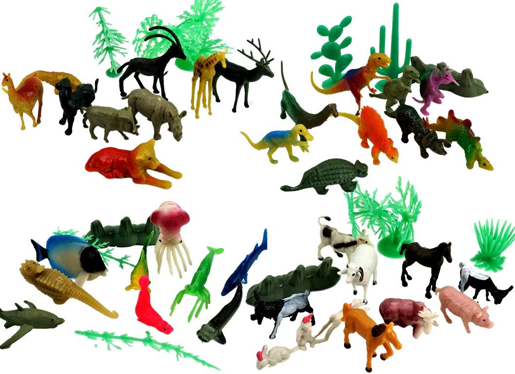 JA-RU Animals Figures 24 Tubes with 312 pcs Item #1675-24p Dinosaurs Jungle and Sea Realistic Looking and one Bouncy Ball Bundle Farm