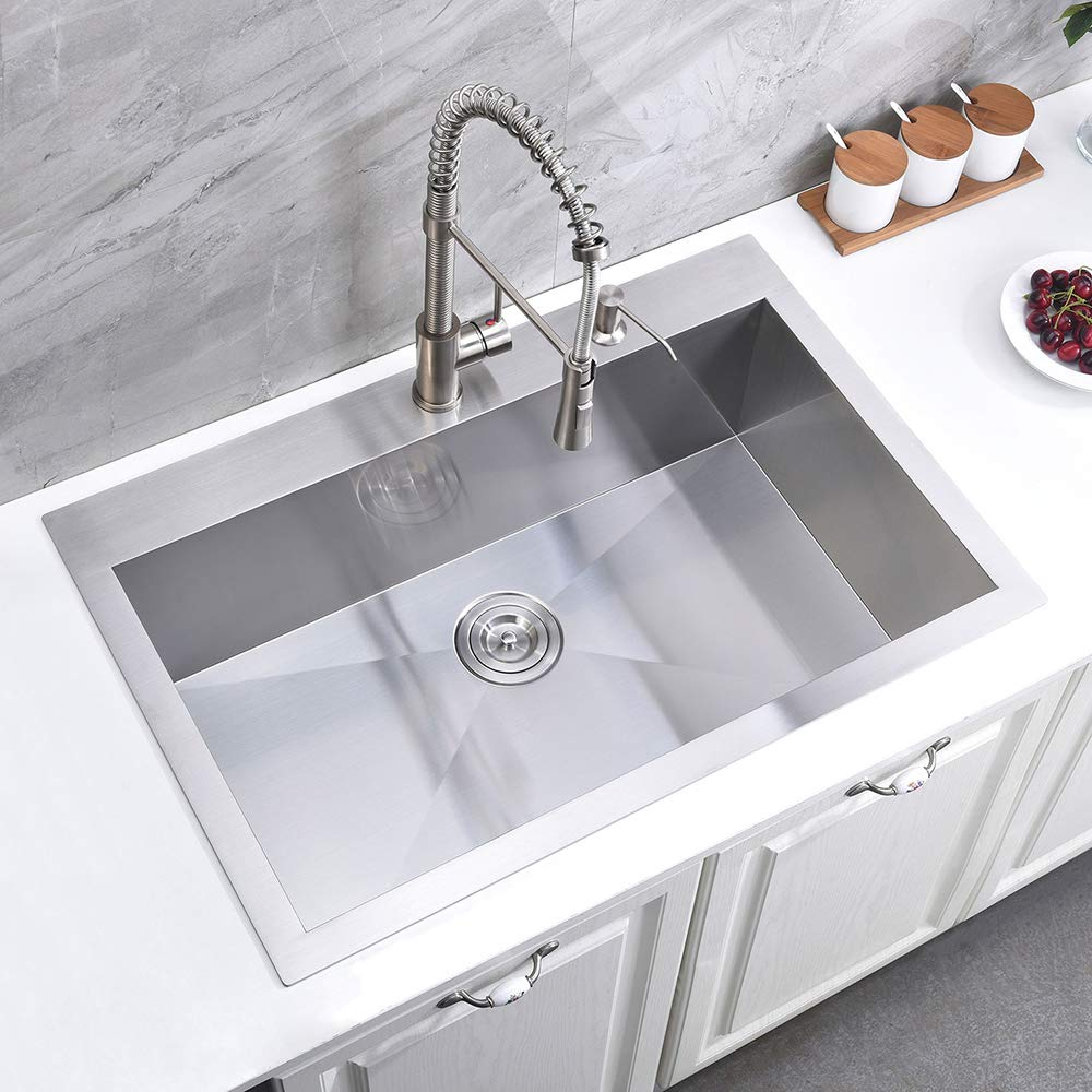 ATUM HOME Single Bowl 838x558mm T304 Stainless Steel Handmade Undermount Kitchen Sink Extra Deep Drop-in One Bowl Kitchen Sink
