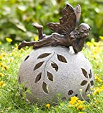 Plow and Hearth Fairy Solar Globe Garden Light, Napping
