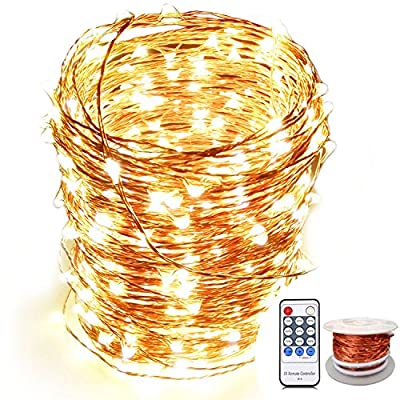 OrgMemory Copper LED Fairy Lights, (80 Ft, 240 Leds, Warm White, UL Listed Power Adapter), Room Lights, Starry Lights with Remote for Garland, Xmas, Outdoor and Indoor Room Decor