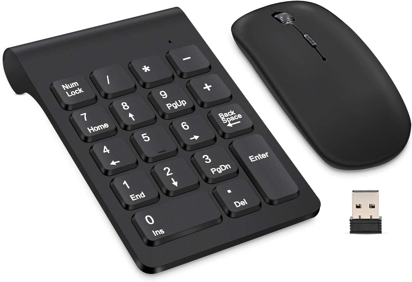 Wireless Numeric Keypad, TRELC Mini 2.4G 18 Keys Number Pad, Portable Silent Financial Accounting Numeric Keypad Keyboard Extensions with Wireless Mouse for Laptop, PC, Desktop, Notebook(Black)