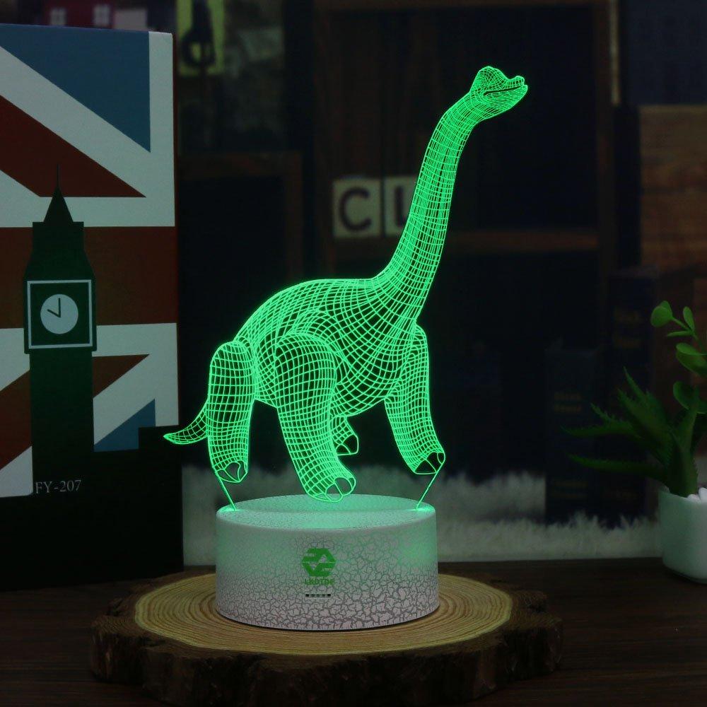 恐竜Illusion夜ライトforキッズ誕生日プレゼント光学式デスクランプテーブルタッチNursery Walking Animals Party Westernクリスマスギフト子供部屋インテリア7色変更USB Crackle B078HKM69C Dinosaur11