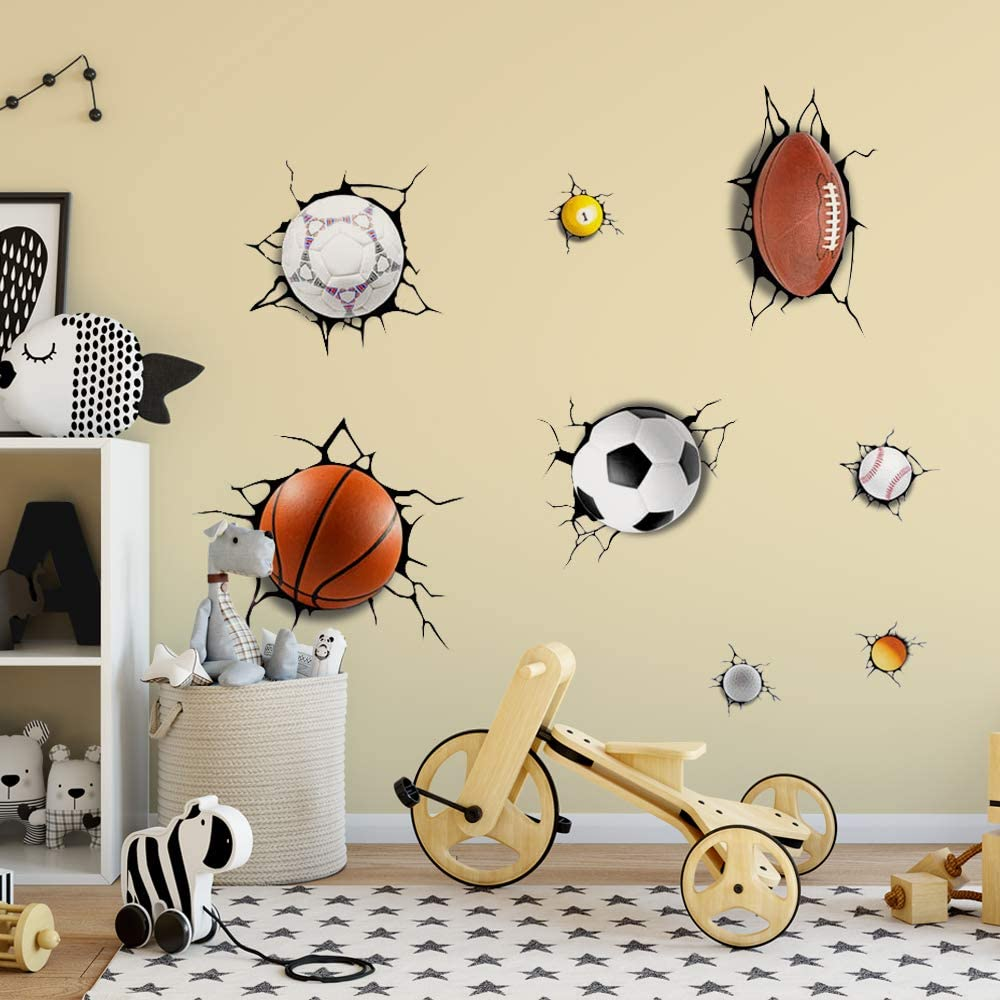 Supzone Sport Wall Stickers 3D Wall Decals Break Through The Wall Removable Vinyl DIY Basketball Rugby Baseball Football Wall Decor Boys Playroom Bedroom Classroom Living Room