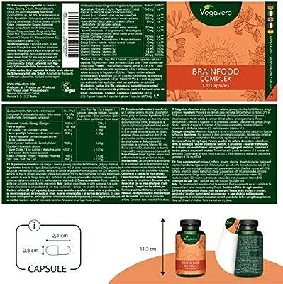 Suplemento Fatiga Mental Vegavero® | Ginseng + Omega 3 Vegano (DHA) + Cafeína de Guaraná + Ginkgo Biloba + B12 | 120 Cápsulas | Nootrópico Natural + ...