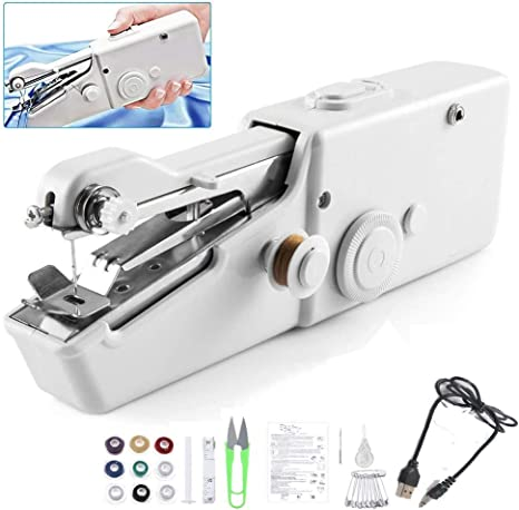 Hand Held Sewing Machine Mini Portable Cordless Sewing Machine Electric Quick Repairing Suitable for for Kids//Beginners to Quick Handy Stitch Black Kit